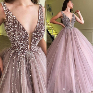 New Sexy Plunging V Neck Beaded Crystals Quinceanera Prom Dresses Dusty Pink Tulle Sleeveless Evening Dresses Formal Party Wear Cheap Gowns