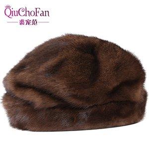 Sombrero para el invierno 100% genuino de la pelea de visón gorros sombrero con la bufanda High Qualitity Gorros de piel natural Beret Hatx1023