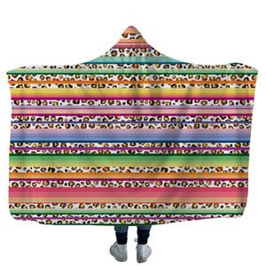 Couverture à capuche de tournesol Léopard imprimé en molleton imprimé des adultes enfants enfants doux Sherpa Capes de pique-nique Tourne serviette 13styles zzc4144