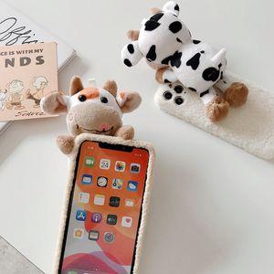 Трехмерное Плюшевые коровы кукла телефон случае для iPhone12 12pro 12 мини 11 PRO XS MAX XR XS 7 8 плюс Чехол для телефона