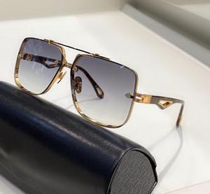 La lente REY II Nueva Hombres vasos degradado de color de moda de las lentes superior UV400 gafas de sol al aire libre de la caja cuadrada marco metálico superior completa