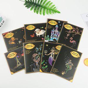 20x14cm de couleur Set cartes postales Scratch Art Dessin Paper Board Nuit Magic View Grattage Peinture Enfants Enfants Education Jouets bbyopL