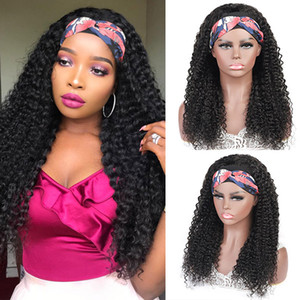 Ishow Human Hair Wigs With Headbands No Glue Easy to Install Body Straight Water Headband Wig Loose Deep Curly None Lace Wigs