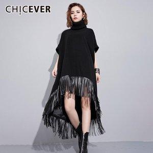 CHICEVER Black Dress For Women Turtleneck Short Sleeve Patchwork Tassel Asymmetric Hem Oversized Dresses Female 2020 Fall Style