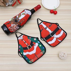 Christmas Apron Bottle Wine Cover Bag Sexy Lady Xmas Dog Santa Claus Red Wine Bottle Wrapper Xmas Home Decor Christmas Ornaments