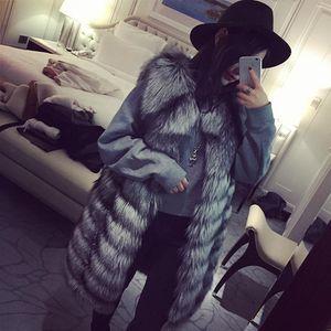 silver lady women natural real fur vest long