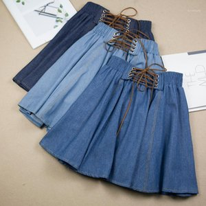 Summer Fashion High Cintura Saias Womens Lace Up Saia Denim Feminino Casual Jeans Saia 11
