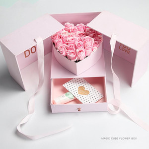 New Magic Cube Flower Boxes Double Layers Florist Gift Packaging Box 24x24x22cm Florist Gift Packaging Box Bouquet Holders