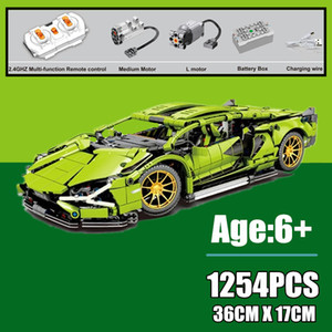 New 1254PCS RC Motorized Super Racing Sports Vehicle Fit Technic Building Blocks City Speed Racer Bricks Children Toys Gift kid X0102
