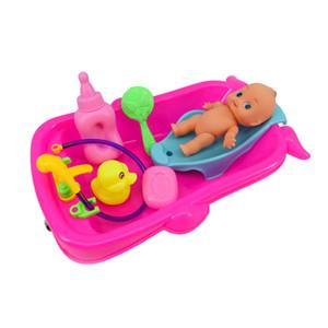 Conjunto de Bebé Adulto Rol Los juegos de simulación del juego de la muñeca de juguete de baño en agua de la bañera del Desarrollo Preescolar w / muñeca red de regalo