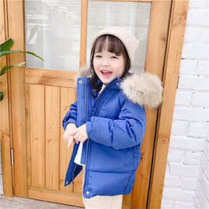 Children's autumn and winter new children's white duck down down down jacket girls' middle and long real wool collar coat 201127