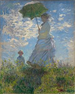 Tuval Wall Art Canvas Pictures 201113 On Şemsiye Madame Monet ve Oğlu Ev Dekorasyonu Yağlıboya Resim ile Claude Monet Kadın