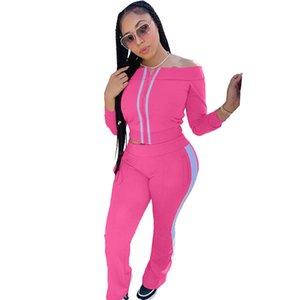 Casual Women Set Slash Neck Off Shoulder Striped Pocket Long Sleeve Coat + Pencil Pants Sportsuit Clothes For Women