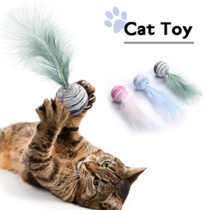 Funny Cat Toys Pet Teaser Turkey Feather Cat Scratching Toys Feather Toy Food Ball For Cats Scratching Playing Training Deliver in 3-5 Days