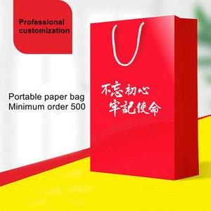 Factory Customized Handbags Company Advertising Promotional Handbags 250G White Cardboard Printing Custom Printed Logo