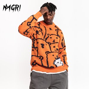 NAGRI Men Hip Hop Sweater Cartoon Bear Casual Loose Knitted Pullover Autumn Winter Knitted Men's Sweaters Couple Unisex Design Q1110