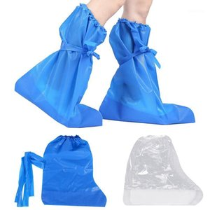 1 Pair Waterproof Overshoes Calf Protective Travel Hiking Cycling Portable Rainproof PE Boot Disposable Shoe Covers High Top1