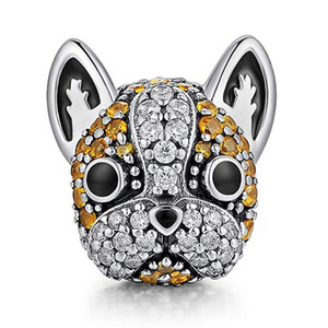 Animal Series Diamond Cute Dog S925 Sterling Silver Charms Beads French Bulldog Beagle Bracelet Diy Accessories Wholesale