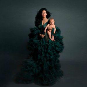 Hunter Green Arab Robe Full Sleeves Prom Dresses Pregnant Women Sleepwear Maternity Photoshoot Evening Dress Baby Shows Vestido
