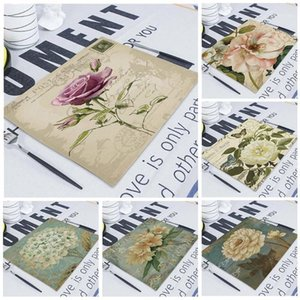 1Pcs Floral Plant Pattern Kitchen Placemat Dining Table Mats Linen Pad Bowl Cup Mat 42*32cm Home Decor Napkin Table1