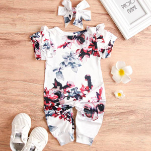 INS Foreign Trade Platform Infant Childrens Short Sleeve Flying Sleeve Ink One-Piece Romper Foreign Trade Wholesale