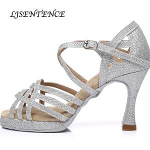 Chaussures de danse femmes Sequin tissu Plate-forme Salsa Latin Bachata Kizomba Cuba talon 6cm 7.5cm 8.5cm 9cm 10CM Lace Up Lady Chaussures 201017