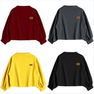 Trendy Harajuku Lantern Sleeve Badge Patched Sweatshirt Women Autumn Drop Shoulder Oversized Hoody Sweatshirts Femininas Drop Shipping