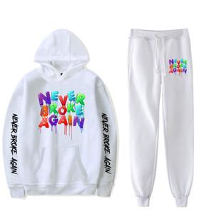 2019 YoungBoy Never Broke Again Fashion Long-sleeved Hooded Sweater 2Pcs Women Men Tracksuit Hoodies Pants Hip hop X0923