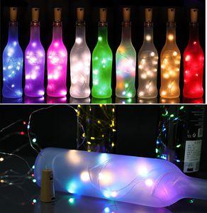 Botella de vino Cork Lights String 2m 20 LED luces de la batería de la batería para la fiesta de la boda Año Nuevo Navidad Barra de Halloween Barra de la decoración Luces de la botella