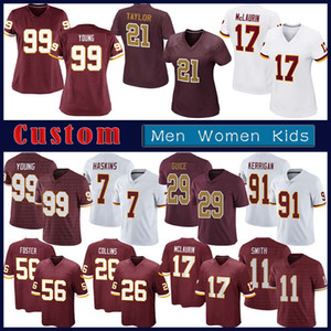 99 Chase Young Custom Men Women Kids Football jersey 17 Terry McLaurin 11 Alex Smith 21 Sean Taylor 7 Dwayne Haskins 26 Landon Collins