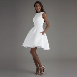 Booma Kurz 2020 Elfenbein Brautkleid weiße Braut-Kleid-Qualitäts-Satin Hochzeit Kleider Q1113