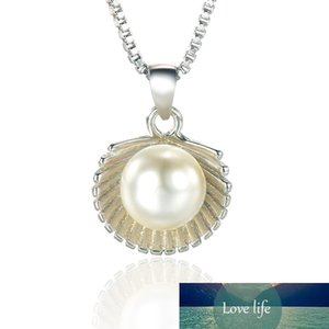 100% 925 Sterling Silver Fashion Pearl Shell Ladies`pendant Necklaces Jewelry Women Box Chains No Fade Drop Shipping