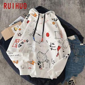Ruihuo Print Толстовки Мужская толстовка Harajuku толстовка с капюшоном мужская одежда толстовки мужские 2021 новое прибытие M-5XL