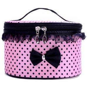 Casos de maquiagem Xiniu Cosmetic Bag Dot bowknot Mulheres Lace Patchwork Organizer Bag Maleta De Maquiagem maquiagem organizador # 0