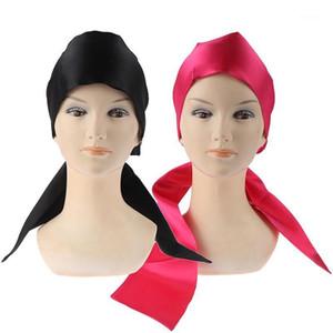 Hot! Soft Silk Women Night Sleep Head Wear Shower Wrap Cap Adjustable Ladies Long Hair Care Bonnet Scraf Satin Hat Accessories1