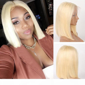 613 Blonde Short Bob Human Hair Lace Front Wigs 100% Real Brazilian Remy Hair Bob Full Lace Wig 8-14inch Pre Plucked Natural Hairline