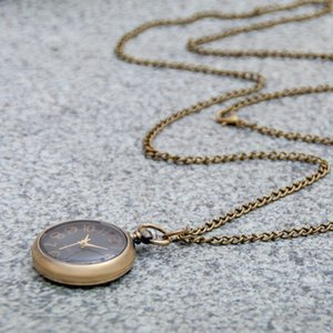 50PCS Small Bronze Mini Black Pocket Watch Necklace Quartz 30MM Vintage Korean Edition Sweater Chain Fashion Watch Flip Wall Watch