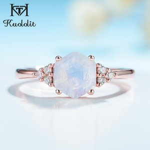 Kuololit 585 розовое золото Радуга Moonstone Драгоценное кольцо для женщин стерлингового серебра 925 шестиугольник природных драгоценных камней Кольцо для Romantic