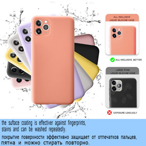 Luxury Square Liquid Silicone Soft Phone Case Lens protection Covers For iPhone 11 12 Pro X XR XS Pro Max 7 8 Wholesale DHL