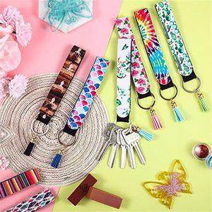 Colorful Neoprene Wristlet Keychain Fashion Printed Hand Wrist Lanyard Keyrings Women Bag Pendant Tassel Keychains Car Key Holder DDE2128