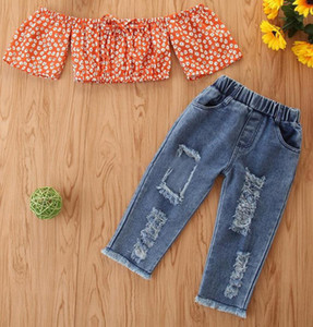 2020 Baby Designer Clothes Girls Pineapple Tops Ripped Denim Shorts 2pcs Sets Off Shoulder Toddler Outfits Summer Baby Clothing 6 Designs