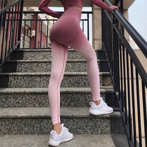 Ombre Seamless Leggings Push Up Fashion Pants High Waist Workout Jogging For Women Athleisure Training Leggings tayt Y200114