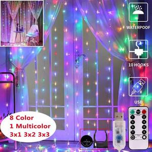 빛 3 * 3 미터 휴가 룸 장식 랜턴 커튼 빛 문자열 커튼 폭발 USB 원격 제어 LED 스트링 구리 와이어