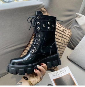 New Martin Boots 100% cowhide Design Autumn Winter Women Shoes platform Lace up boots  New Style Leather shoes Flat Metal zipper