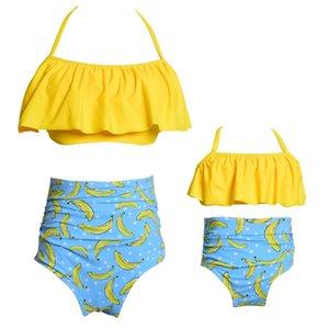 скидка родительская детская купальник два штуки высокая талия женщин женщин бикини купальники купальники урожай вершины леди дети девушки бикини пляжная одежда бинтурный стиль один
