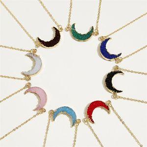 Moda Druzy Taş Ay Kolye Ile Bir Dilek Kart Jenin Altın Kolye Zincirler Kadınlar Için Lüks Takı Hediye 160 O2