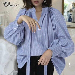 Celmia Women Lantern Long Sleeve Shirts Casual Loose Striped Blouses Ladies Sexy Buttons Neckline Elegant Cotton Tops Plus Size