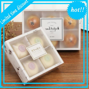 Şeffaf Buzlu Mooncake Kek Paketi Kutusu Tatlı Macarons Pasta Ambalaj Kutuları LX3166