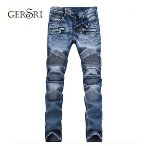 Gersri Mens New Fashion Male Casual Biker Slim Straight Feet Printed Jeans Loose Waist Long Trousers Large Size