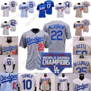 Dodgers 2020 World Series Champions Jersey Mookie Betts Cody Bellinger Buehler Kershaw Muny Hernández Corey Seaver Turner Julio Urias